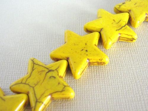 Yellow howlite 26mm star gemstone bead