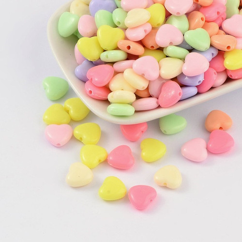 Assorted pastel 12mm heart acrylic beads