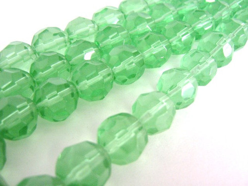 Green 11mm faceted round glass beads