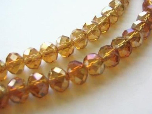 Orange faceted rondelle glass beads