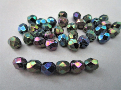 Faceted round Czech beads