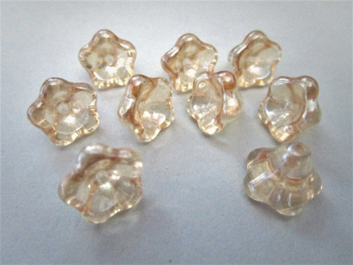 Crystal champagne 11x13mm bell flower Czech beads