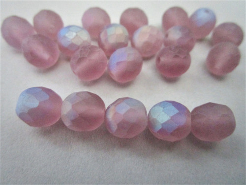 Matte amethyst ab purple 8mm faceted round Czech beads