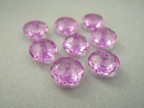 Transparent purple 11mm faceted rondelle acrylic beads