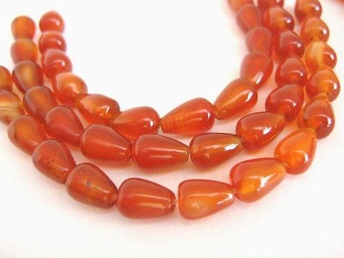Carnelian 7x10mm Teardrop Gemstone Beads