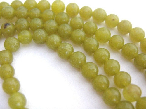Olive jade 4mm round gemstone beads