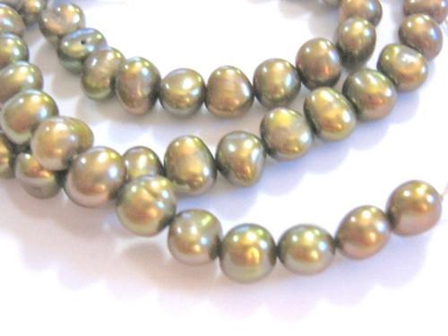 Bronze green 7mm potato freshwater pearl beads