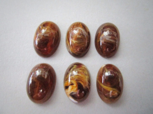 Brown marbled 9x14mm oval vintage lucite cabochon