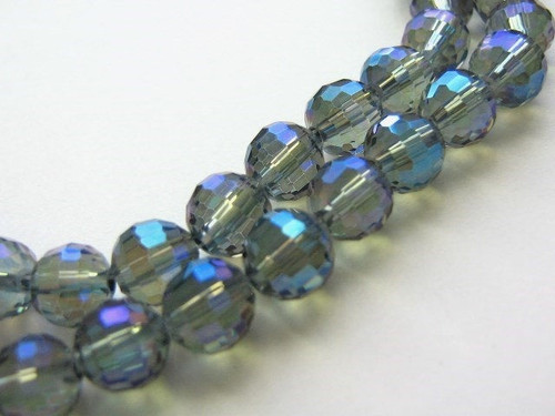 Blue silver metallic 8mm micro faceted glass beads