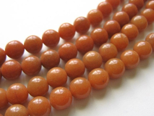 Red aventurine 12mm round gemstone beads