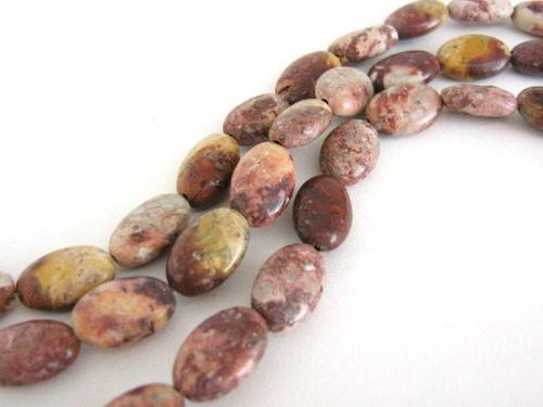 Red Leopardskin Jasper 12x8mm Flat Oval Gemstone Beads