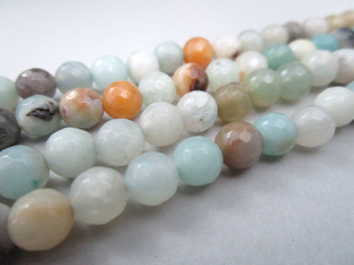 Golden amazonite 6mm micro faceted round gemstone beads