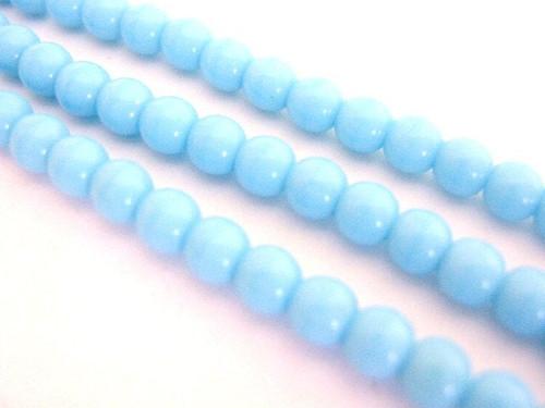 opaque blue 4mm round Czech beads