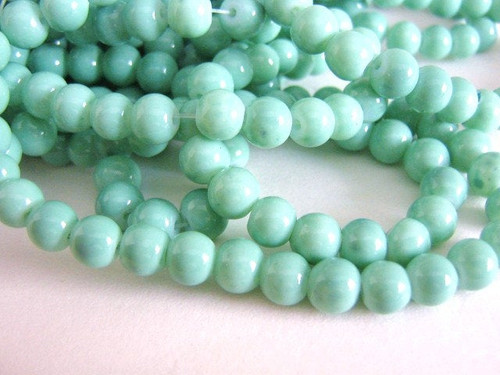 Opaque Aqua 6mm Round Blue Glass Beads