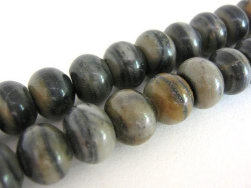 Silver leaf jasper 11mm rondelle gemstone beads