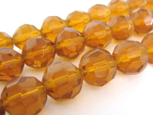 Transparent brown 14mm faceted round glass beads