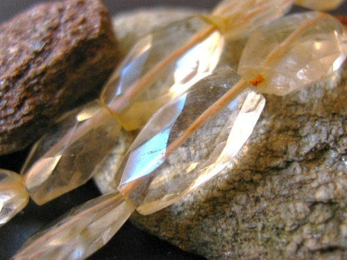Citrine flat oval gemstone beads