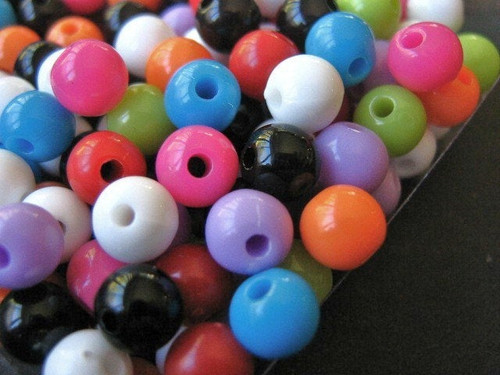 Assorted opaque 6mm round acrylic plastic bead