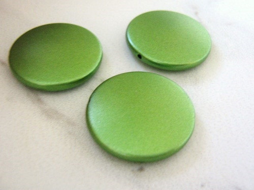 Green 26mm coin acrylic beads