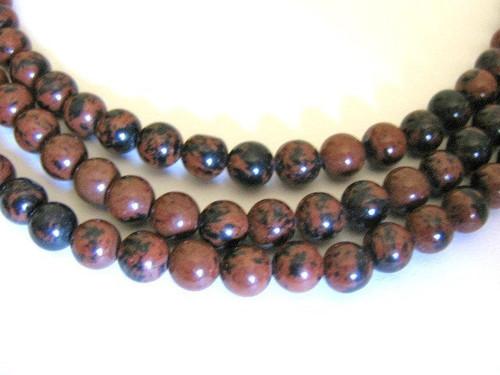 Mahogany obsidian 6mm round gemstone beads