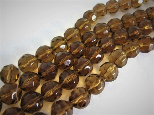 Transparent brown 12mm faceted round glass beads