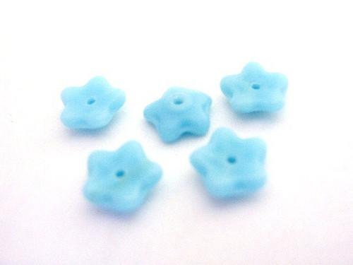 blue 7mm flower Czech beads