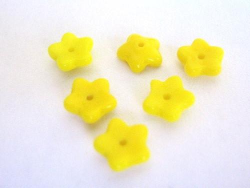 opaque yellow 8mm flower Czech beads