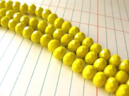 Opaque Yellow 8x6mm Faceted Rondelle Glass Bead Spacer