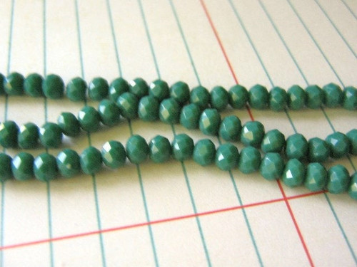 Opaque green turquoise 4mm faceted rondelle glass crystal beads
