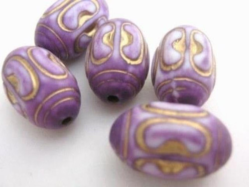 Purple 15x10mm oval acrylic beads