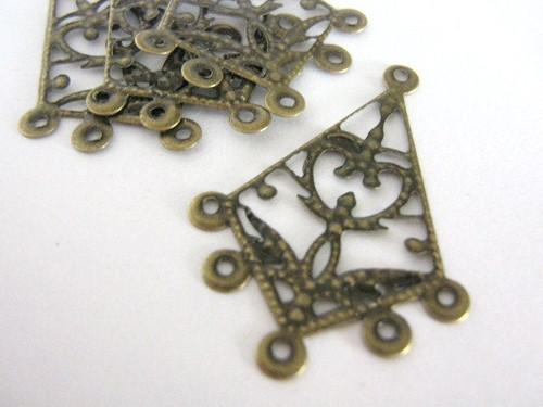 Antique bronze finish 38mm chandelier filigree earring setting