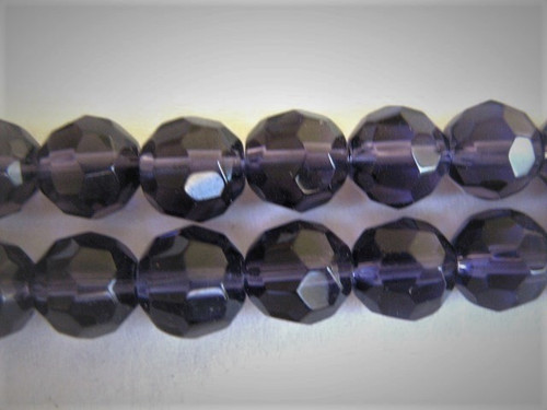 Transparent purple 8mm faceted round glass beads