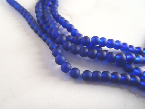 Frosted blue 6mm round sea glass beads