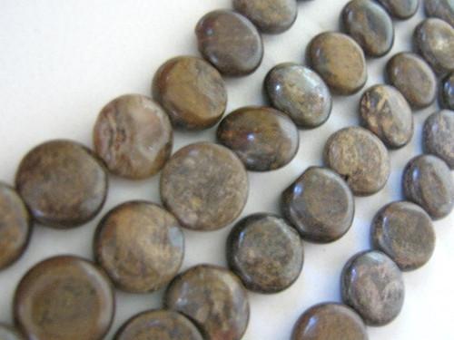 Bronzite 13mm coin gemstone beads