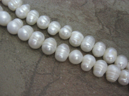 White 10mm potato freshwater pearl beads