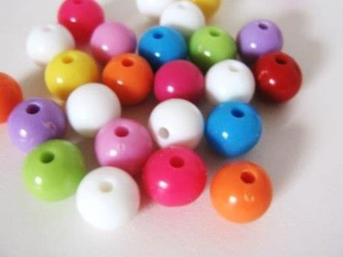 Assorted opaque 8mm round acrylic plastic beads