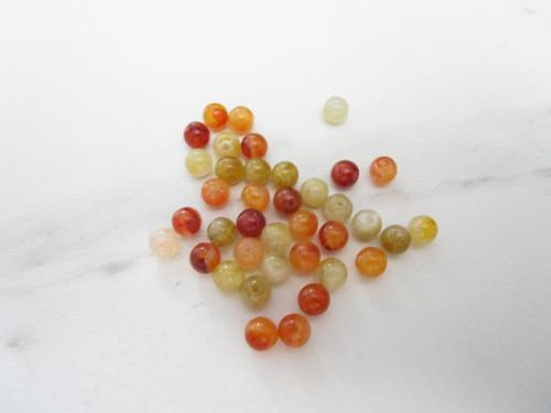 Brown, beige, green 6mm round vintage lucite beads