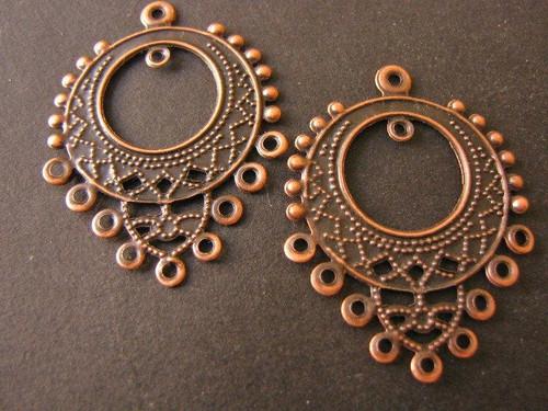 Bohemian Chandelier Settings 25x32mm Antique Copper Earring Findings