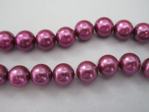 Purple 10mm round vintage plastic pearl bead