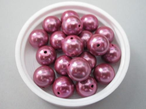 Purple 10mm round vintage plastic pearl beads