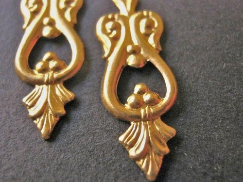 Victorian brass chandelier 8x25mm drop earring findings dangle charm
