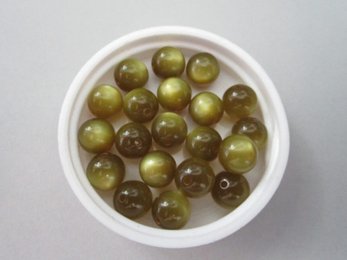Olive green moonglow 9mm round vintage lucite beads