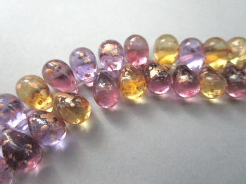 Purple yellow gold 9x6mm teardrop Czech beads