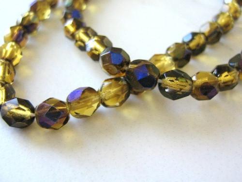 Brown zarit 6mm faceted round Czech glass beads