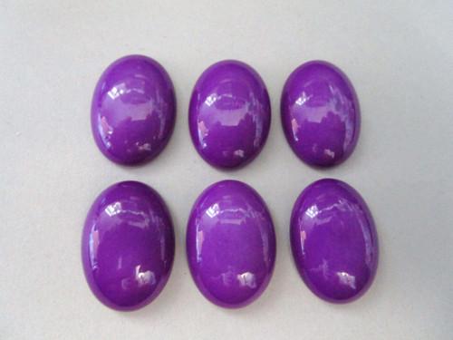 Opaque purple 18x25mm oval vintage lucite cabochon
