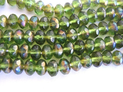 Green celsian 5x3mm faceted rondelle Czech glass beads