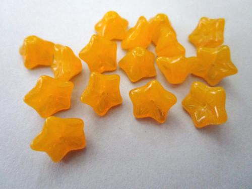 orange 6x9mm trumpet bell flower Czech beads