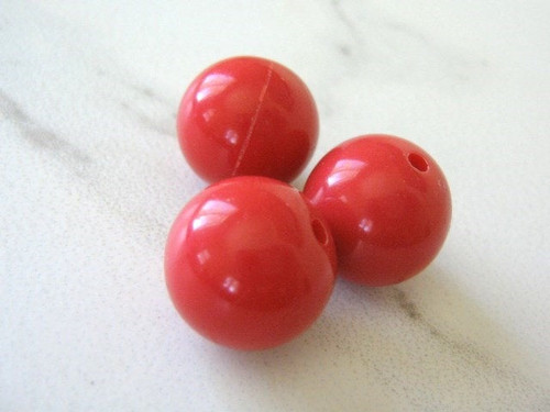 Opaque red 16mm round acrylic plastic bead