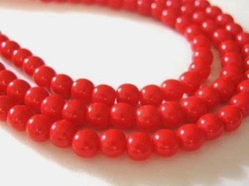 red 4mm round Czech glass bead