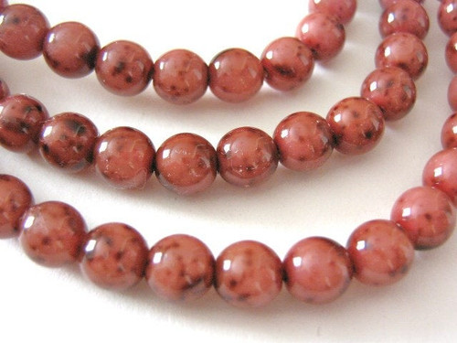 pink picasso 6mm round Czech glass bead